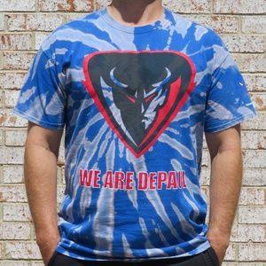 DePaul Blue Demons Custom Spiral Bleach Tee sz XL